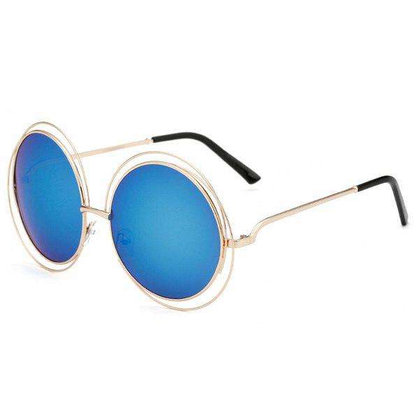 Chic Women's Hollow Out Round Mirrored Sunglasses - ICE BLUE