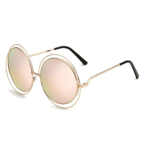Chic Women's Hollow Out Round Mirrored Sunglasses - PINK
