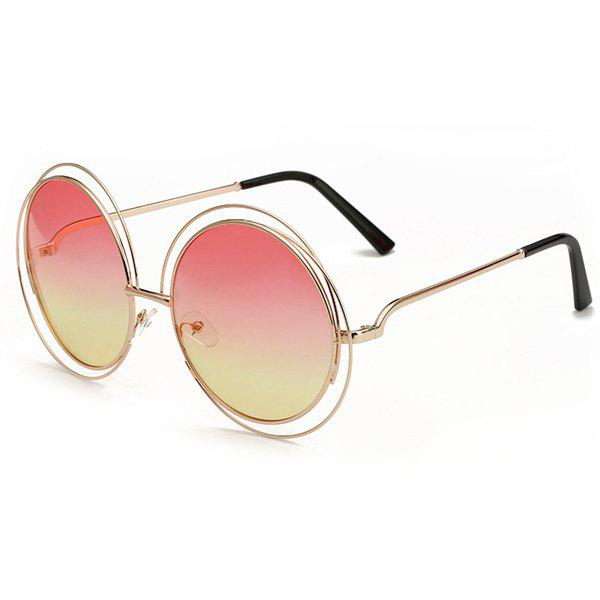 Chic Two Color Match Lens Hollow Out Women's Round Sunglasses - LIGHT RED