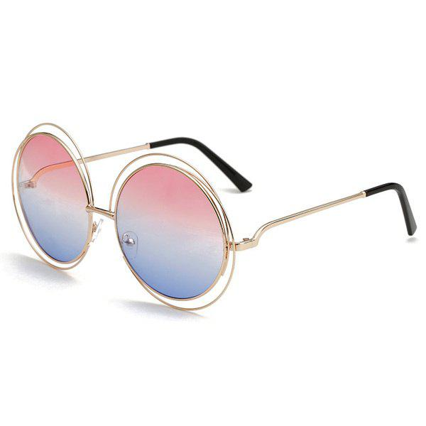 Chic Two Color Match Lens Hollow Out Women's Round Sunglasses - PINK