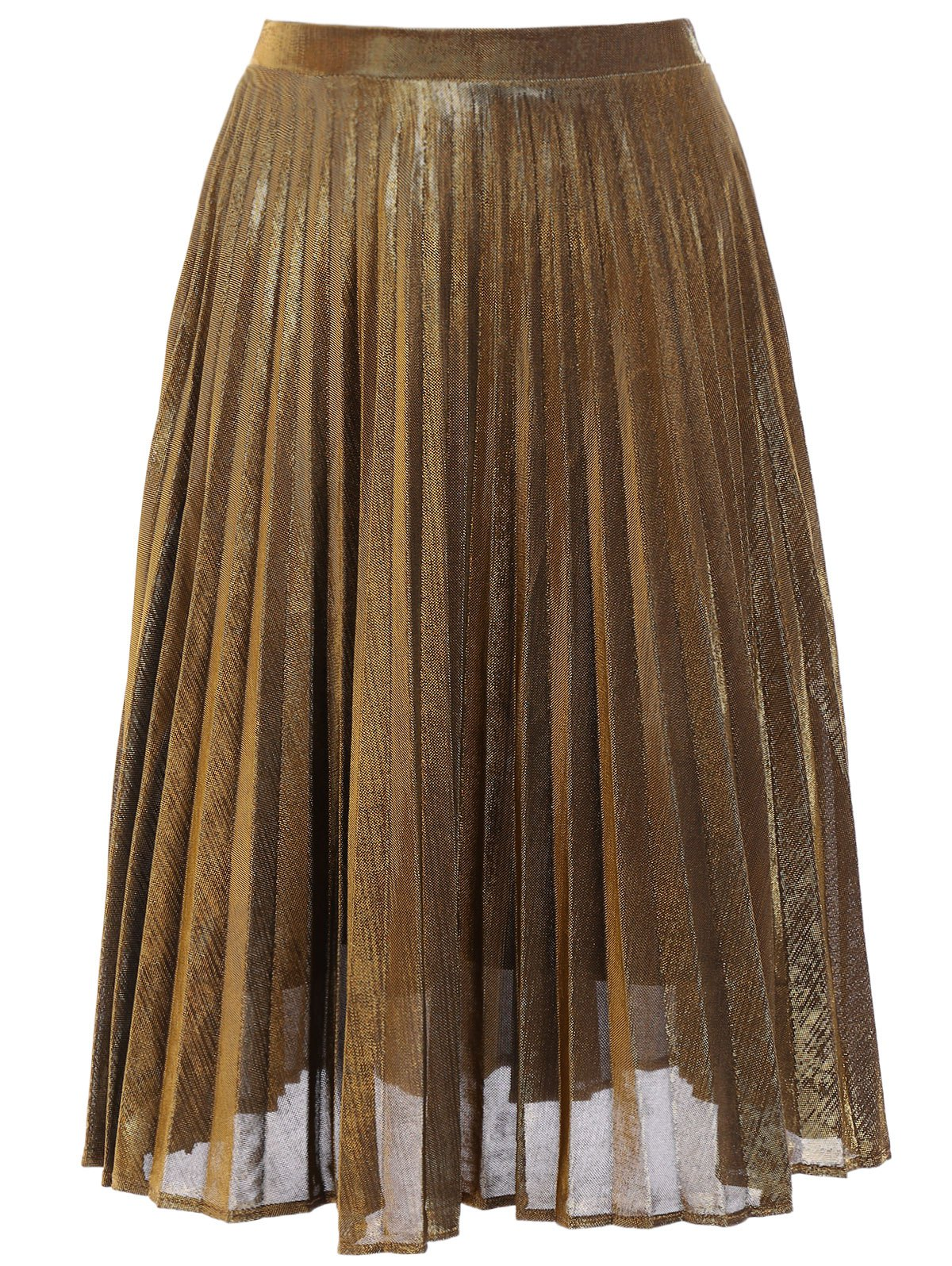 Fashionable Solid Color Pleated Midi Skirt For Women - GOLDEN S