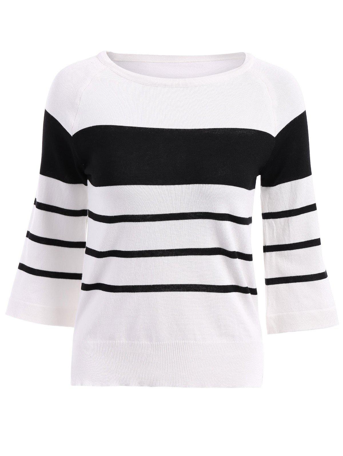 Brief Women's Round Neck Stripe 3/4 Sleeve Blouse - WHITE ONE SIZE(FIT SIZE XS TO M)
