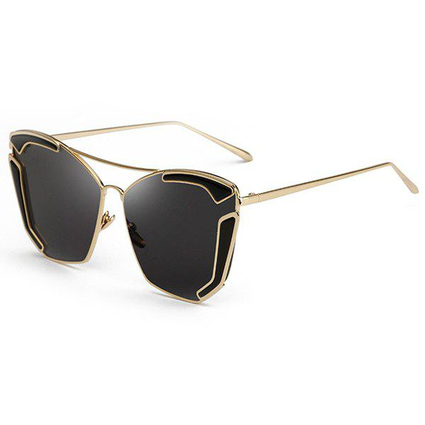 Chic Cut Out Alloy Embellished Women's Black Oversized Sunglasses - BLACK