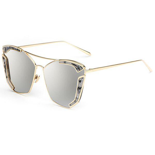 Chic Cut Out Alloy Embellished Women's Oversized Mirrored Sunglasses - SILVER