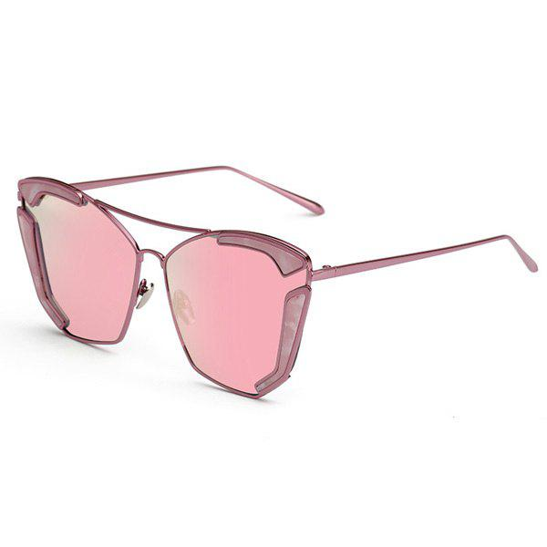 Chic Cut Out Alloy Women's Oversized Mirrored Sunglasses - PINK