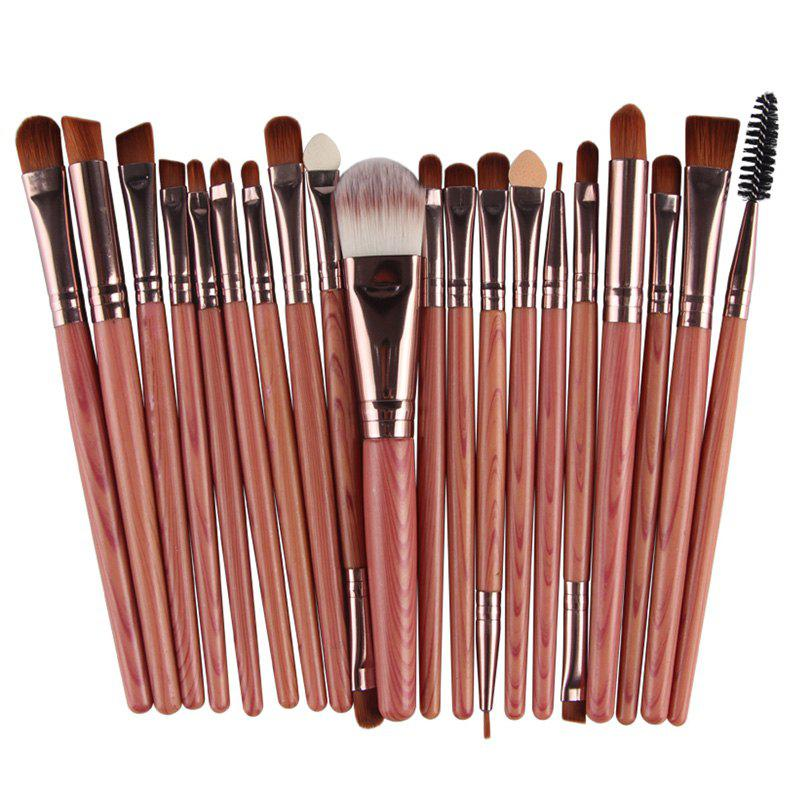 Professional 20 Pcs Wood Grain Handle Nylon Face Eye Lip Makeup Brushes Set - JACINTH