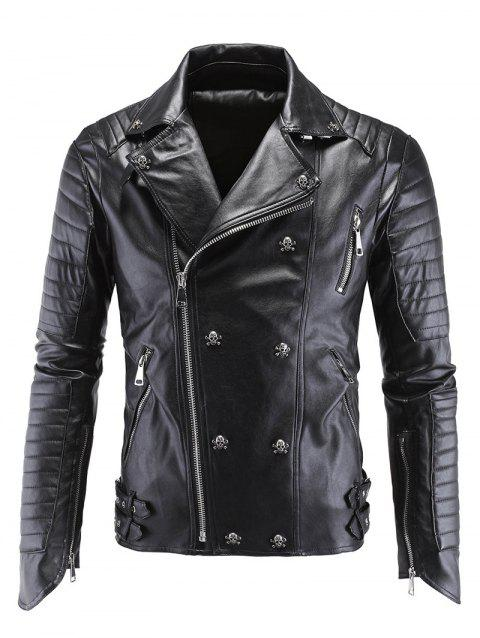 Skull Buckle Embellished Zippered Men's Faux Leather Jacket - BLACK M