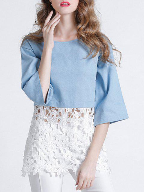 Sweet 3/4 Sleeve Lace Splicing Hollow Out Women's Blouse - BLUE/WHITE S