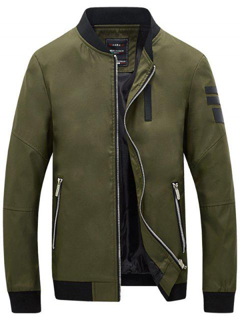 Zippered Spliced Stand Collar Men's Long Sleeve Jacket - ARMY GREEN L