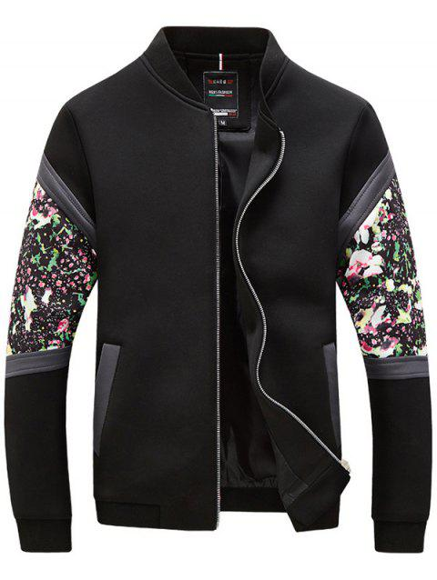 Floral Spliced ​​Zip Up Stand Collar manches longues hommes d  'Jacket - Noir L