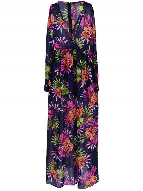 Manches longues col en V Floral Print Dress - multicolore XL