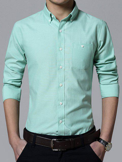 Pocket Design Plus Size Turn-Down Collar Button-Down Men's Shirt - LIGHT GREEN 2XL