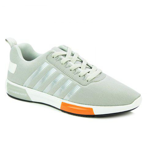 Trendy Tie Up and Stripes Design Men's Athletic Shoes - LIGHT GRAY 40