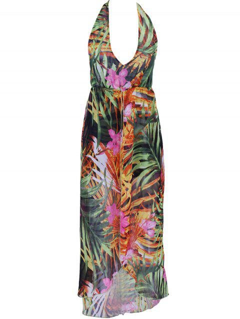 Graceful Women's Printed High Slit Dress - COLORMIX L
