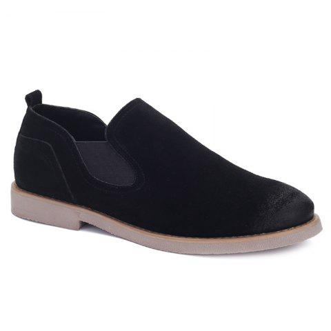Concise Suede and Elastic Band Design Men's Casual Shoes - BLACK 44