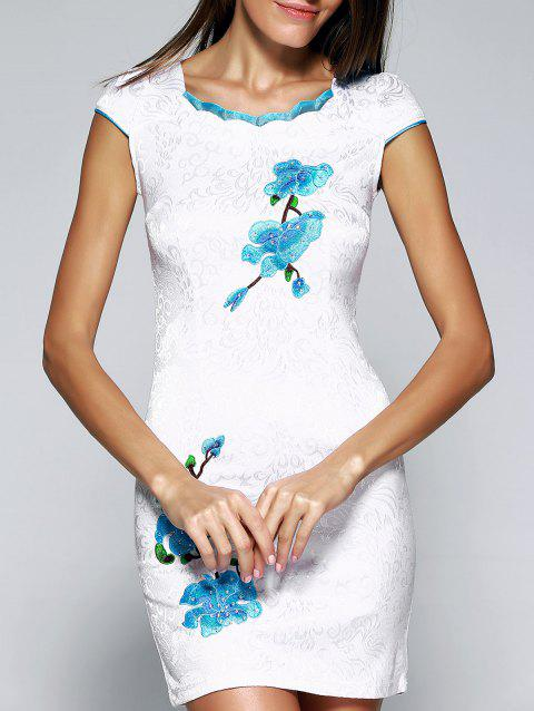 Wave Cut Embroidery Floral Cheongsam - LIGHT BLUE S