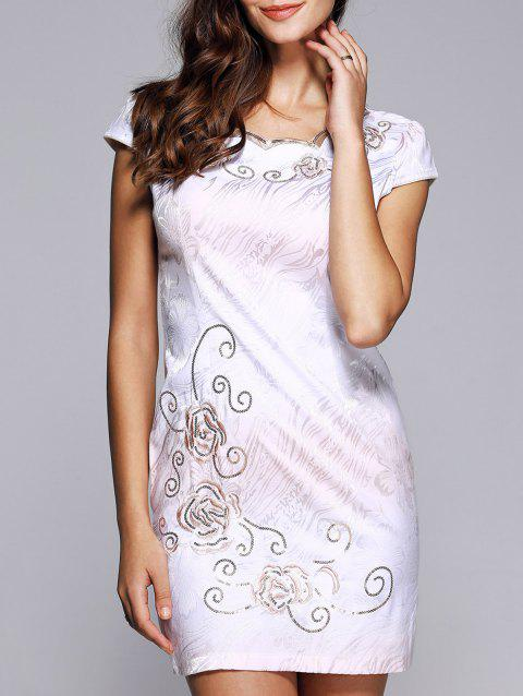 Wave Cut Gradient Embroidery Floral Cheongsam - LIGHT PURPLE L
