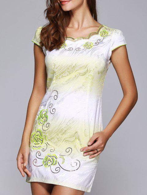 Wave Cut Gradient Embroidery Floral Cheongsam - LIGHT GREEN L