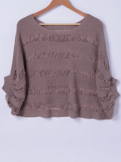 Elegant Women's Scoop Neck Batwing Sleeves Solid Color Knitwear - TEA COLORED ONE SIZE(FIT SIZE XS TO M)