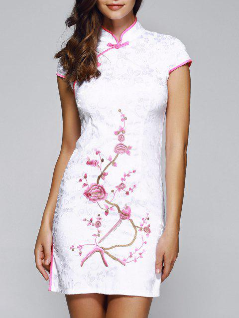 Elegant Plate Button Embroidery Cheongsam - SHALLOW PINK L