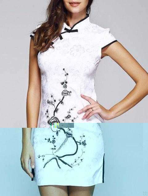 Elegant Plate Button Embroidery Cheongsam - BLACK M