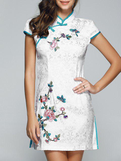Plate Button Butterfly and Floral Pattern Cheongsam - WHITE S