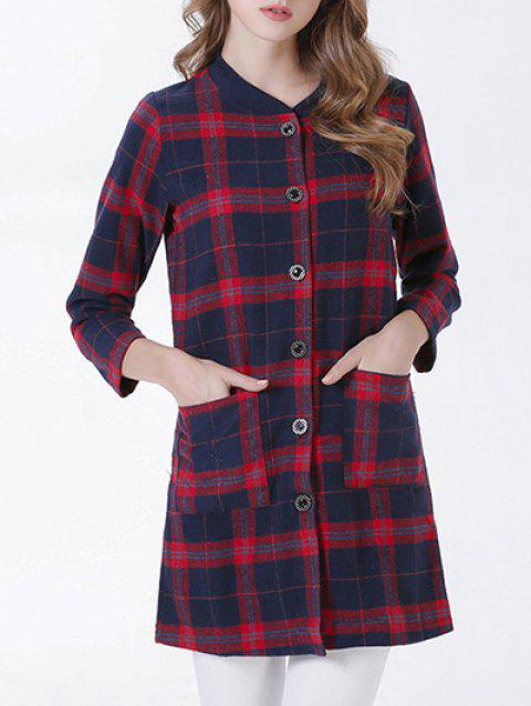 Chic Buttoned Pocket Design Plaid Women's Coat - RED XL