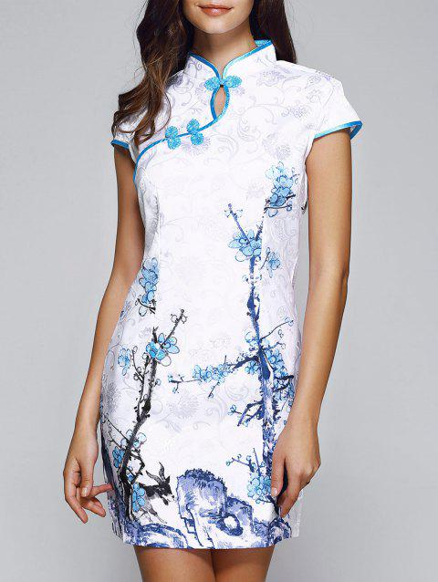 Classical Beauty Plate Button Plum Blossom Cheongsam - WHITE S