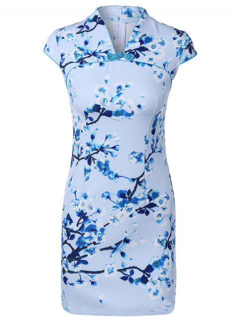 Blossom Tree Pattern Buttoned Cheongsam - LIGHT BLUE XL