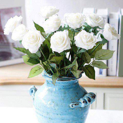 High Quality A Bouquet of Touch Home Decoration Artificial Rose Flower - WHITE