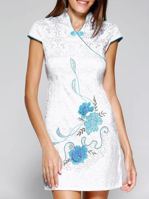 Chinoiserie Jacquard Floral Mini Dress For Women - LIGHT BLUE XL