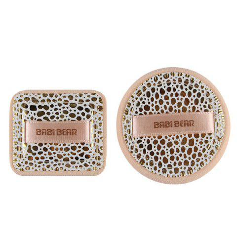 Cosmetic 2 Pcs Round and Square Base Makeup BB Cream Wet Use Powder Puffs - LEOPARD