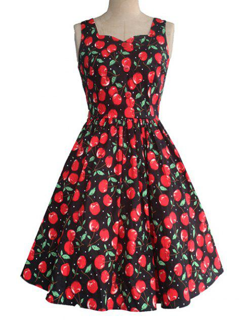 Retro Sweetheart Neck Cherry Print Pleated Skater Dress - BLACK 2XL
