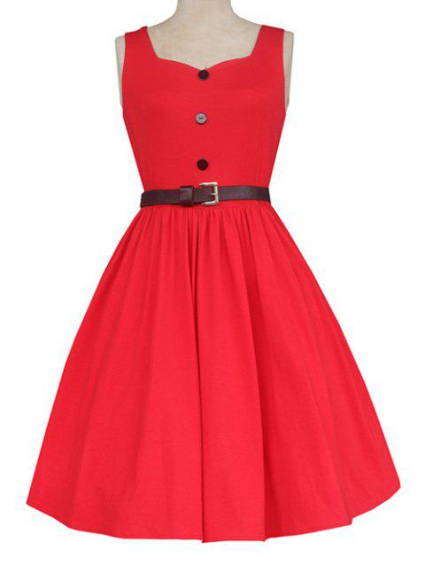 Retro Sweetheart Neck Pure Color Button Ruched Skater Dress - RED M