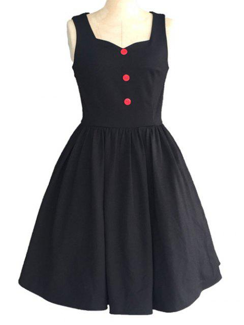 Retro Sweetheart Neck Pure Color Button Ruched Skater Dress - BLACK L