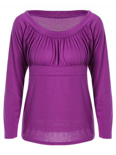 Simple Frilling Pure Color Tee - PURPLE 3XL