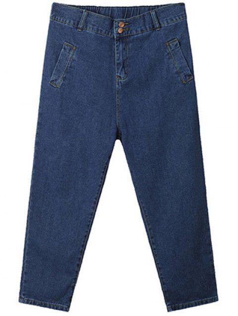 Plus Size Casual Vertical Pocket Cross Jeans - Bleu profond 38