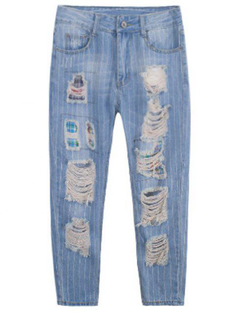 Plus Size Stylish Striped Ripped Jeans - BLUE 34