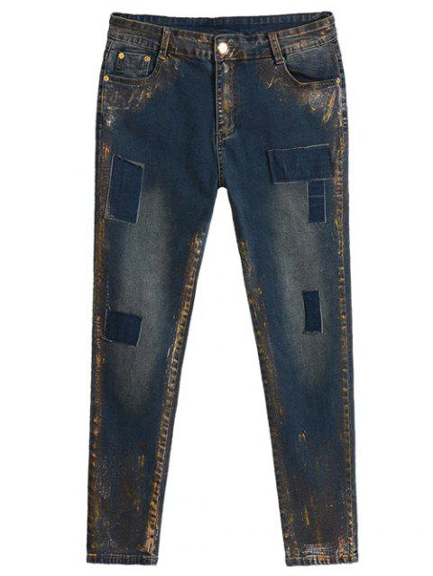 Plus Size Appliqued Spray Painting Jeans - BLUE 34