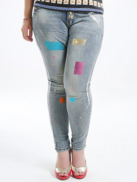 Plus Size Five Pockets Gilding Jeans - BLUE GRAY 36