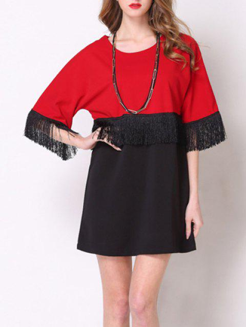 Charming 3/4 Sleeve Color Block Fringed Women's Dress - RED/BLACK XL