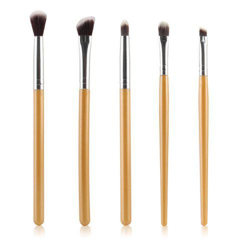 Cosmetic 5 Pcs Portable Nylon Eye Makeup Brushes Set - GOLDEN