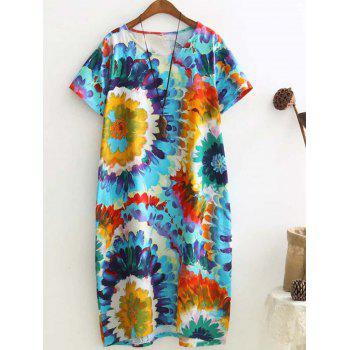 Retro Multicolor Printed Loose Short Sleeve Plus Size Dress