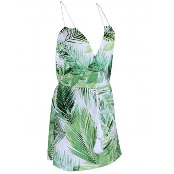 Tropical Halter Neck Leaf Romper For Women - GREEN XL