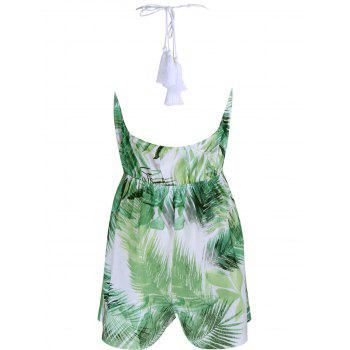 Tropical Halter Neck Leaf Romper For Women - GREEN GREEN