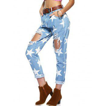 Star Pattern Broken Hole Jeans