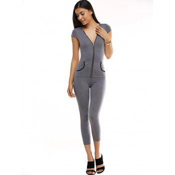 Stylish Pocket Design Hooded Jumpsuit For Women - GRAY L