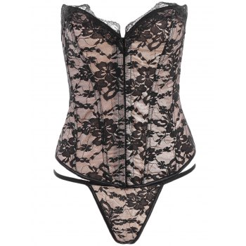 Sexy Sleeveless Strapless Hollow Out Lace Women's Corset Bodysuit - BLACK XL