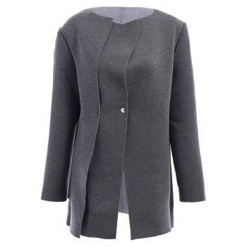 Fashionable Round Neck Solid Color Long Sleeve Women's Coat