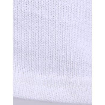 Simple Round Neck Long Sleeve Solid Color Furcal Women's Sweater - WHITE L
